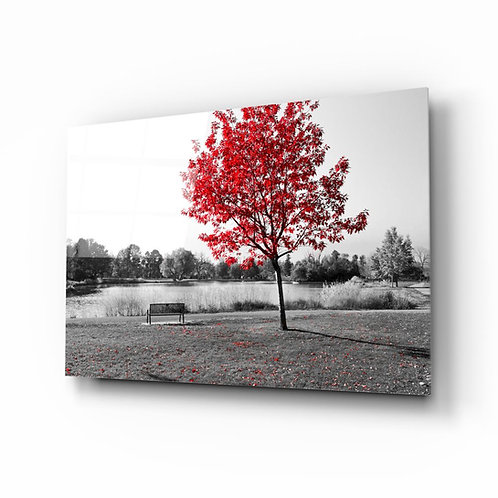 Red Tree UV Printed Glass Painting