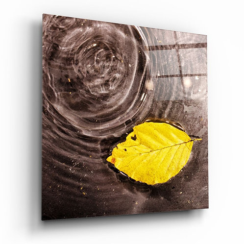 Yellow Leaf UV Printed Glass Painting
