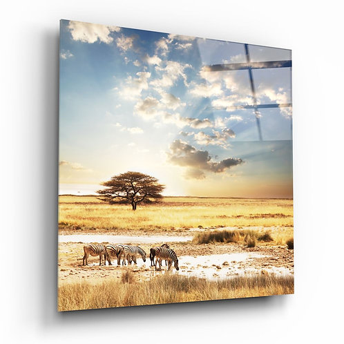 Africa (Wide Meadow) UV Printed Glass Painting