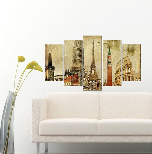 Italy France 5 Pieces MDF Painting