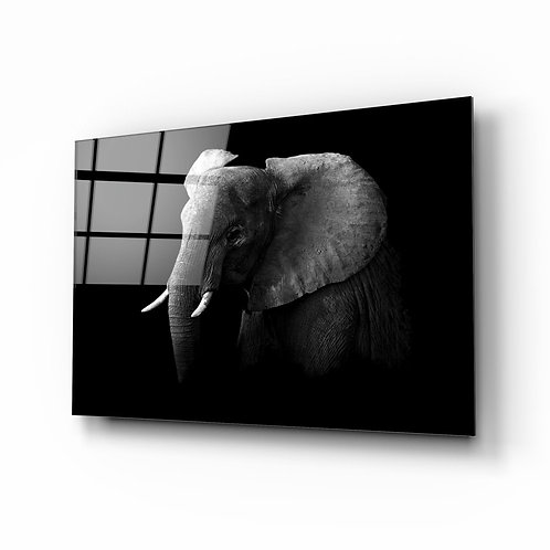Elephant UV Printed Glass Painting
