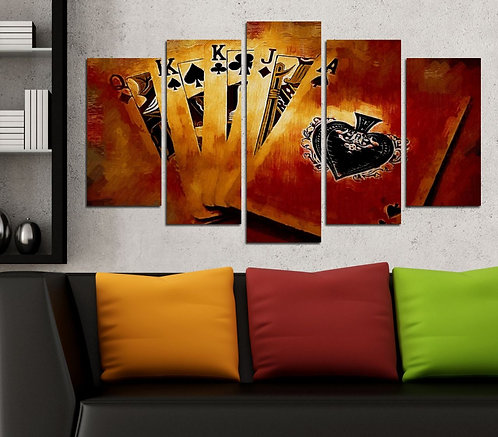 Playing cards 5 Pieces MDF Painting