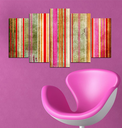 Abstract 5 Pieces MDF Painting