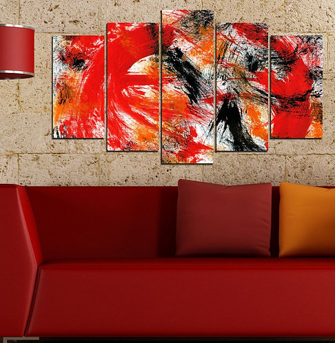 Red Black 5 Pieces MDF Painting