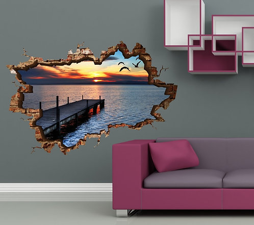 Sunset on the Beach 3D Wall Sticker
