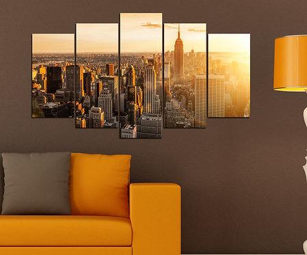 Newyork Sunset 5 Pieces MDF Painting