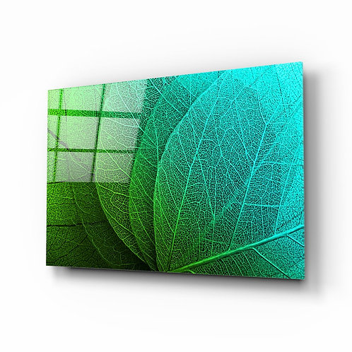Green Leaf UV Printed Glass Painting