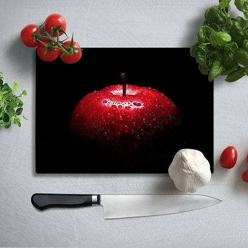 Red Apple Uv Printed Glass Chopping Board 35x25cm