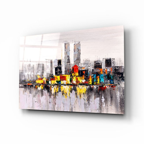 Abstract City UV Printed Glass Painting