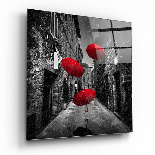 Red Gingham UV Printed Glass Painting