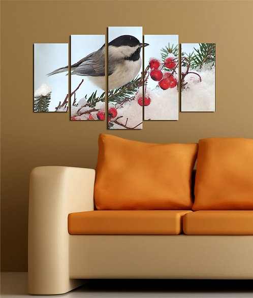 Bird on branch (3) 5 Pieces MDF Painting