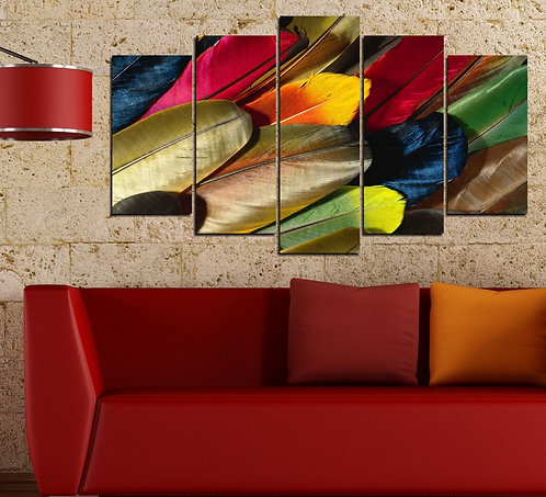 Feather 5 Pieces MDF Painting