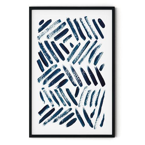 Navy Blue Lines Framed Wall Art