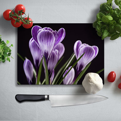 Purple Flowers UV Printed Glass Chopping Board 35x25cm