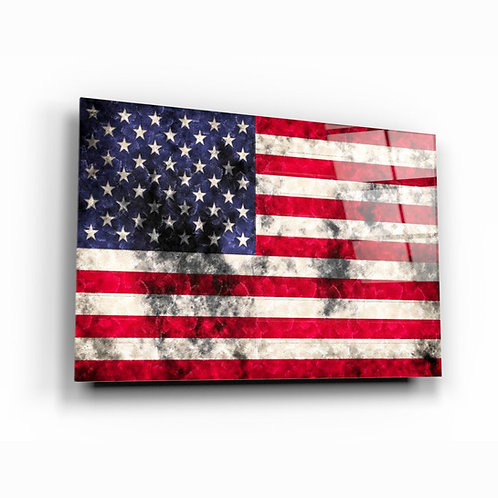 American Flag UV Printed Glass Printing