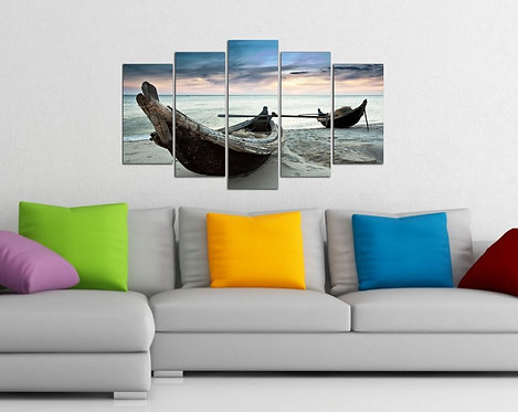 Kayak and Sand 5 Pieces MDF Painting