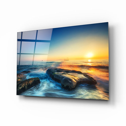 Sea View UV Printed Glass Painting