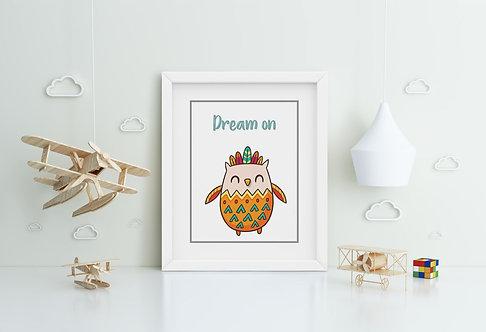 Happy Owl-Dream on Framed Printing