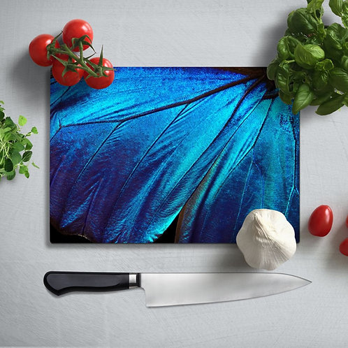 Blue Wing Uv Printed Glass Chopping Board 35x25cm