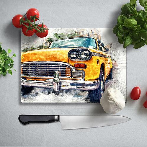 Classic Car Uv Printed Glass Chopping Board 35x25cm