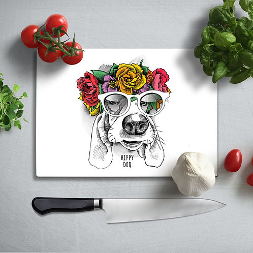Hippie Dog UV Printed Glass Chopping Board 35x25cm