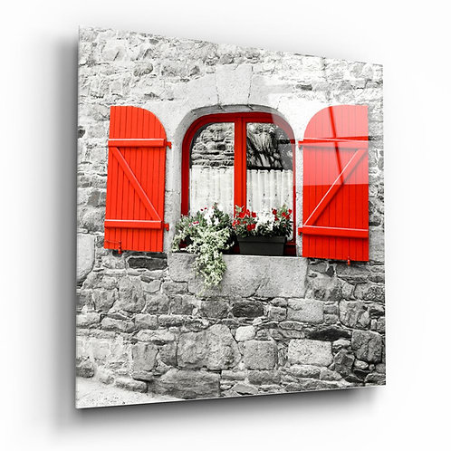 Red Window UV Printed Glass Painting