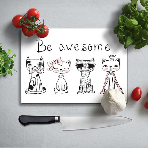 Be Awesome Uv Printed Glass Chopping Board 35x25 cm