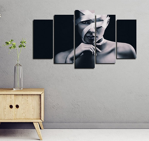 Woman Portrait 5 Pieces MDF Painting