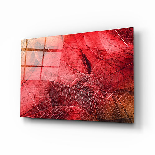 Macro Red Leaf Glass Printing