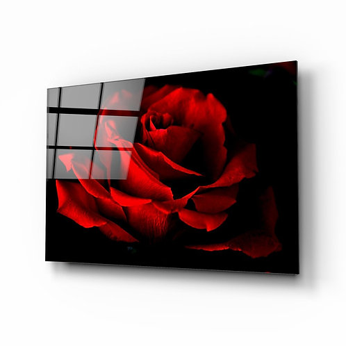 Red Roses UV Printed Glass Painting