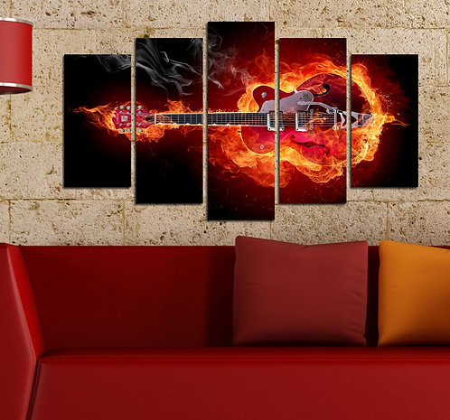 Flamed Guitar 5 Pieces MDF Painting