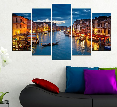 Venice at night 5 Pieces MDF Painting