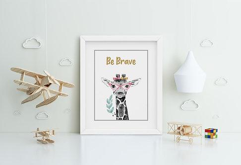 Giraffe-Be Brave Framed Printing