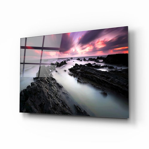 Sunset Landscape UV Printed Glass Painting