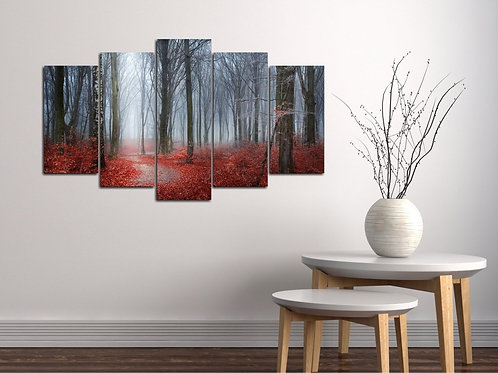 Red Forest 5 Pieces MDF Painting