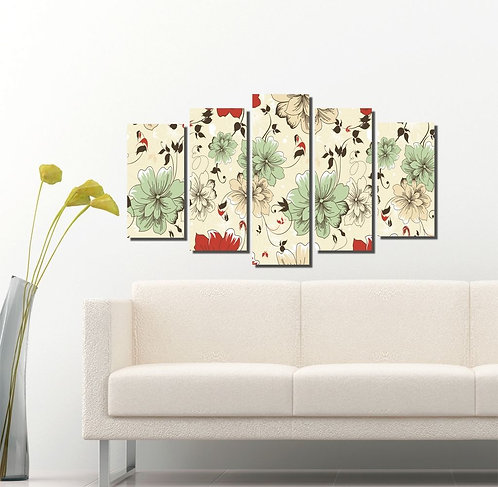 Floral 5 Pieces MDF Painting