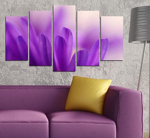 Purple Flower (3) 5 Pieces MDF Painting