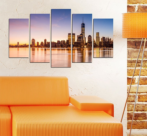 City Landscape 5 Pieces MDF Painting