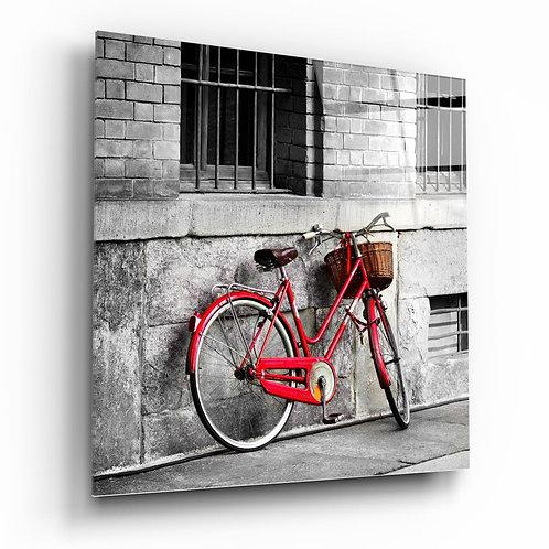 Red Bicycle UV Printed Glass Printing