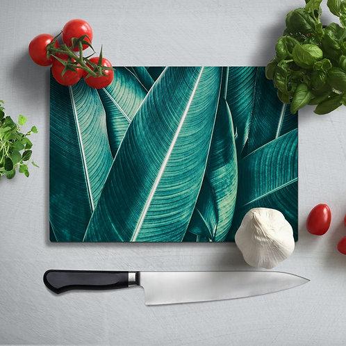 Tropical Leaf Uv Printed Glass Chopping Board 35x25cm