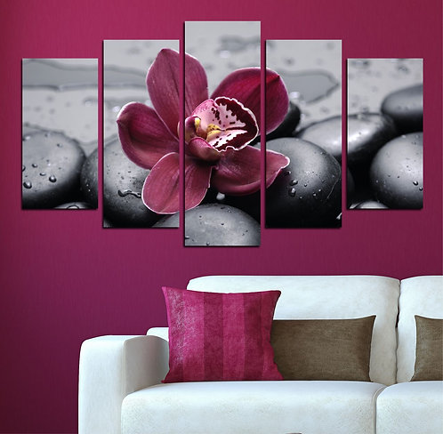 Orchids (5) 5 Pieces MDF Painting
