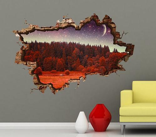 Red Night 3D Wall Sticker
