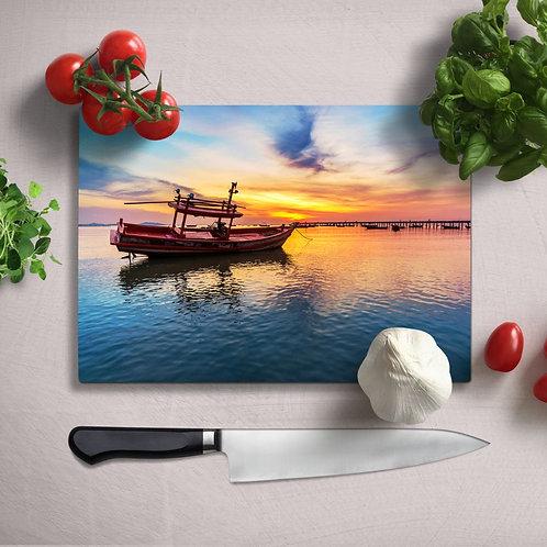 Boat Uv Printed Glass Chopping Board 35x25 cm