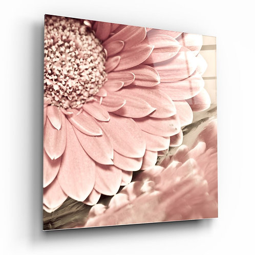 Pink Flower UV Printed Glass Painting