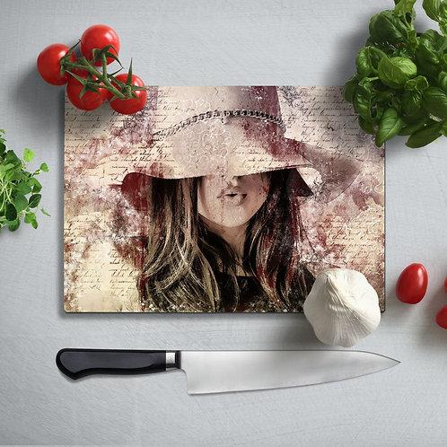 Retro Girl  Uv Printed Glass Chopping Board 35x25 cm