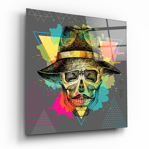 Skull - Never Without Hat Glass Printing