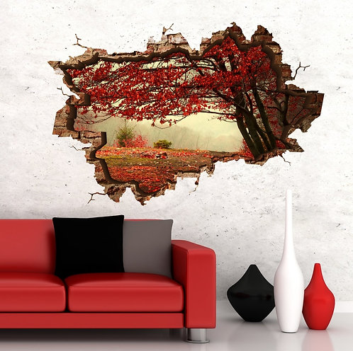 Red Leaves 3D Wall Sticker