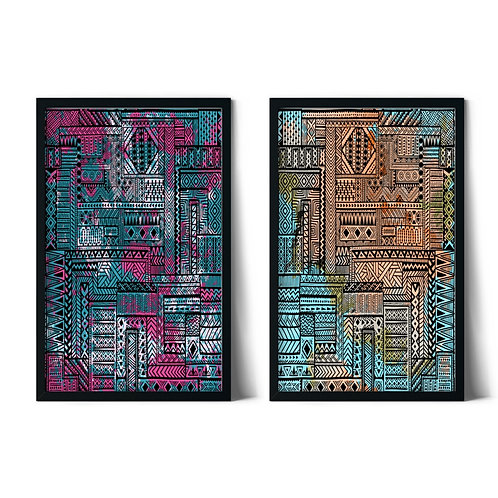 Ethnic Patterns Framed Combined Table