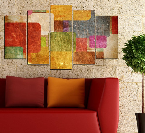 Abstract (7) 5 Pieces MDF Painting