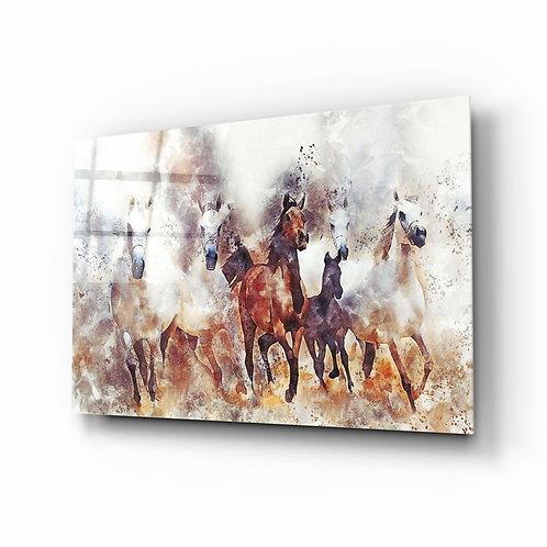 Running Horses Glass Printing